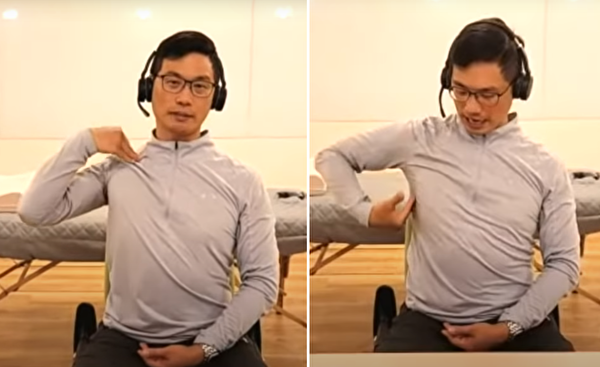 手轉向同側的身體前方,沿着身體側面下來。(健康1+1/大紀元)