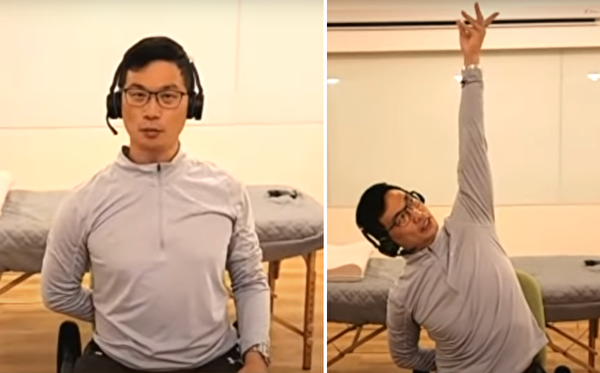 一隻手背在身後,另一隻手向上伸直,做換電燈泡動作。(健康1+1/大紀元)