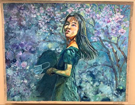 黄娜塔莉的水粉画作品《春天来了》。