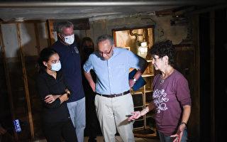 舒默、白思豪與聯邦FEMA局長 走訪皇后區受災居民