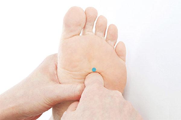 透过刺激脚底的大脑、甲状腺、肾上腺、心脏穴道,能预防和控制高血糖。(苹果屋提供)