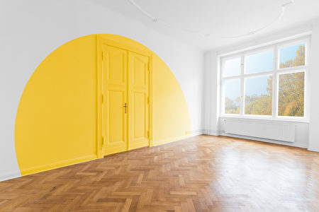 Empty,Room,With,Colored,Painted,Wall,-,Home,Decoration,And,拱門