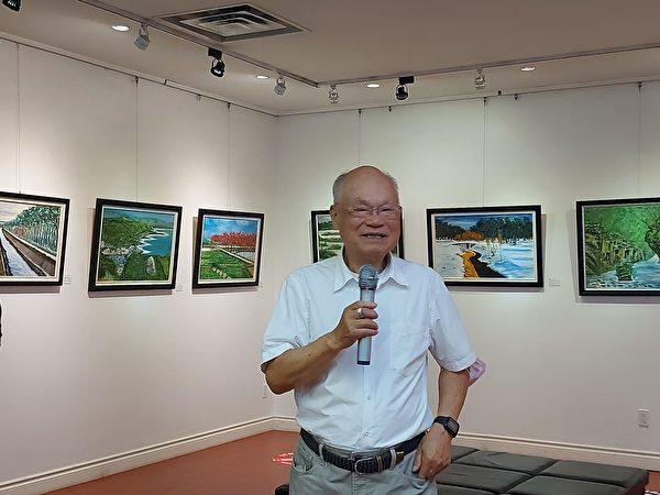 圖:周德旭今年9月舉辦個人畫展,分享其晚年繪畫的心路歷程。(邱晨/大紀元)