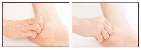 左圖是正確的按摩手勢,右圖是NG手勢。(蘋果屋提供)