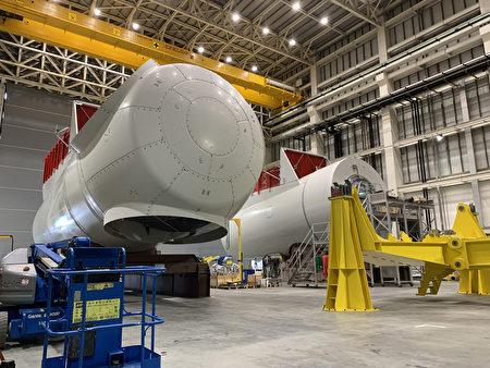 圖為西門子歌美颯臺中機艙組裝廠內部。