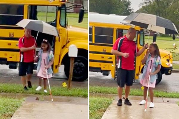 善良司機幫助九歲失明女孩乘校車上學