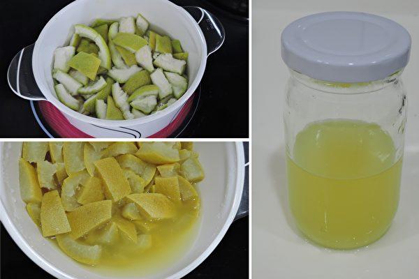 柚子皮放進鍋中,加水煮至水變色(左下圖),放涼可倒進罐子放冰箱保存。(圖片提供/陳映如)