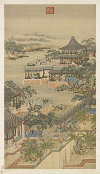 清院畫十二月令圖八月賞月