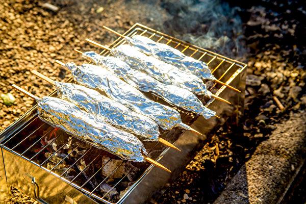 將肉、海鮮、蔬菜等先撒些海鹽,用鋁箔紙(錫箔紙)包好,放在爐火上慢烤,減少致癌風險。(Shutterstock)