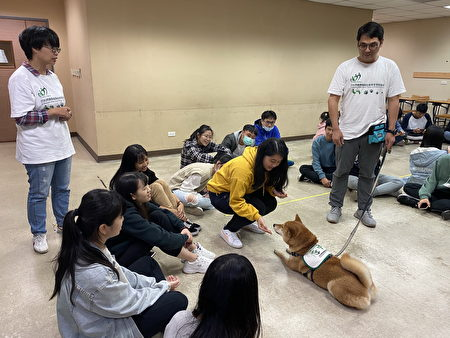 """长庚大学职治系接轨国际职能治疗趋势,开设""""休闲与游戏治疗课程"""",其中一环为宠物治疗。(照片是于2020年下半年疫情缓和期间拍摄)"""