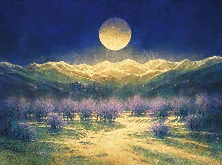 高永隆此次展覽以「尋色.逐光」為名,其中「尋色」表示從黑白的水墨世界,轉向多彩的膠彩創作。