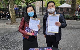 黄敏仪和陈海灵举行选民登记活动