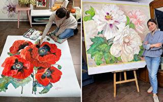 組圖欣賞:比真花還細膩的巨幅水彩花卉