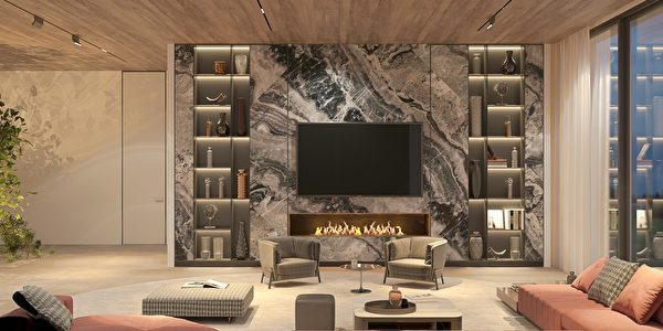 Elegant,And,Luxury,Interior,Open,Living,Room,With,Night,Lighting,Shutterstock,客廳,大理石牆