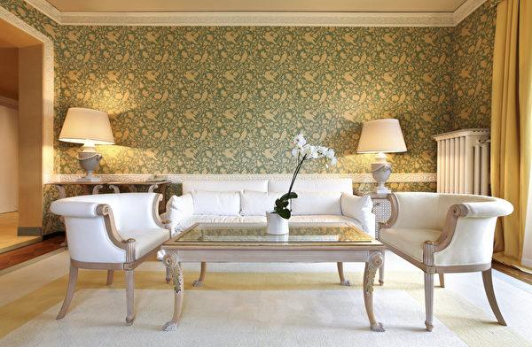 Interior,Luxury,Apartment,,Comfortable,Classic,Living,Room,Shutterstock,客廳,壁紙,法式牆,線板