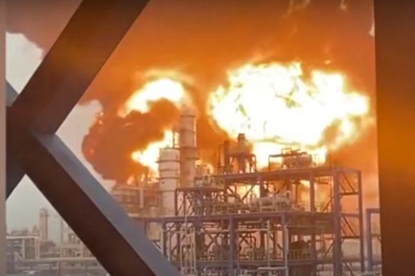 江蘇淮安一化工廠失火 伴有巨大爆炸聲